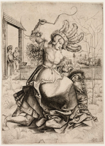 phyllis-riding-aristotle-in-a-walled-garden-by-master-m-z-ca-1500-art-institute-of-chicago