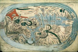 Bodleian Libraries, Mandorla Mappa Mundi, English manuscript of Ranulf Higden, ca 1400