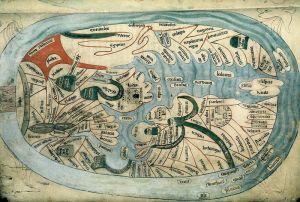 Bodleian Libraries, Mandorla Mappa Mundi, English manuscript of Ranulf Higden, ca 1400